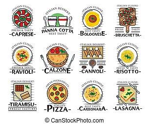 Pizza, pasta, spaghetti and lasagna. Italian food - Italian ...