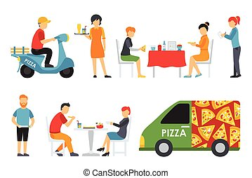 Pizza People in a interior flat icons set. Pizzeria conceptual web vector illustration.