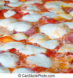 pizza pepperoni closeup