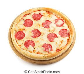 pizza pepperoni, isolato, bianco