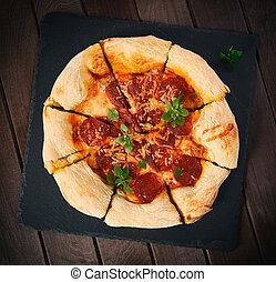 pizza pepperoni, sur, a, bois, table.