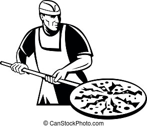 Pizza Pie Maker Holding a Pizza Peel Front  Retro Black and White