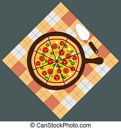 Pizza. Pizza delivery.Pizza on chalkboard background. Pizza bar. Pizza menu.