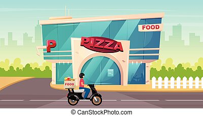 Pizza place on street flat color vector illustration. Fast food delivery on motorbike. Cafe exterior by sidewalk. Modern 2D cartoon cityscape with glass urban building on background