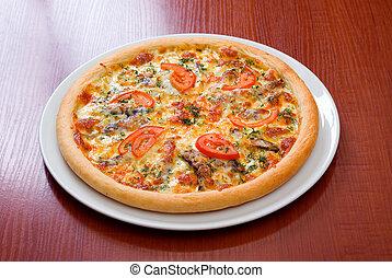 pizza, pomodori