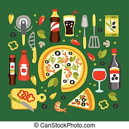 Pizza Preparation And Eating Elements, Italian Cuisine Dish With Associated Utensils, Drinks And Sauces