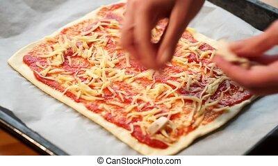 Pizza preparing adding chicken in high definition 1920x1080...
