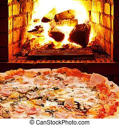 pizza prosciutto, fungo, e, aprire fuoco, in, forno