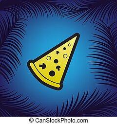 pizza, prosty, poznaczcie., vector., złoty, ikona, z,...