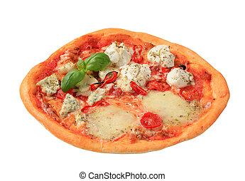 Fresh baked pizza quattro formaggi