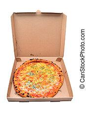 pizza quattro formaggi in cardboard box
