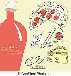 pizza, queijo, e, vinho