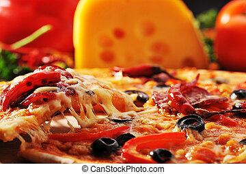 pizza, queso