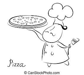 pizza, recept, text., bakgrund, kock, pizza.