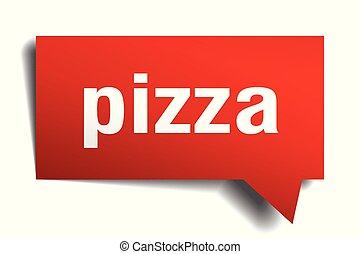 pizza red 3d speech bubble