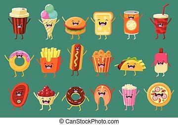 pizza, roosteren, hamburger, komisch, ijs, gekke , vasten, warme, illustraties, drank, voedingsmiddelen, patat, karakters, dog, room, koffie, donut, vector, sett, gezichten, zacht