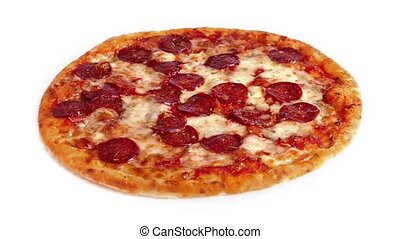 Pizza Rotating On White Background