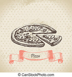 pizza., rukopis, nahý, ilustrace