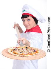 pizza, séf, noha, egy, fából való, hámlik