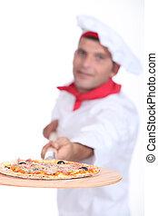 pizza, séf, noha, egy, wooden élelmezés