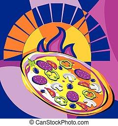 pizza, saída, de, forno