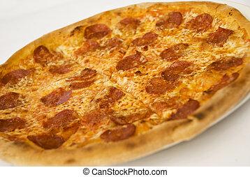 pizza, salame, formaggio