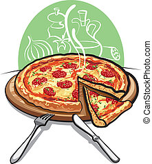 pizza, salame