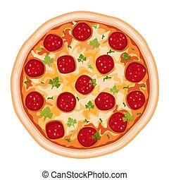 pizza, salami