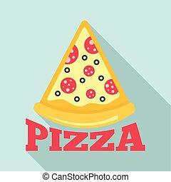 Pizza salami slice logo, flat style