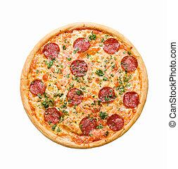 pizza salchicha, aislado