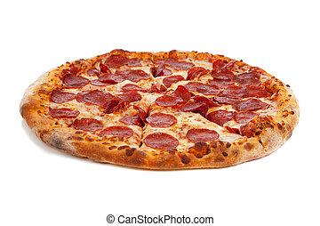 pizza salchicha, blanco