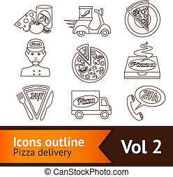 pizza, satz, grobdarstellung, heiligenbilder