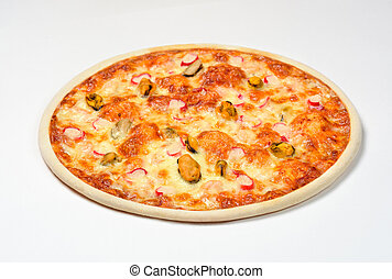 Pizza Sea with shrimp, mussels and crab sticks olives, mozzarella cheese on a white background