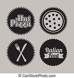 pizza seals over gray background vector illustration