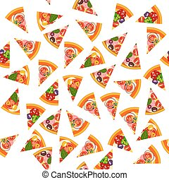 Pizza seamless pattern background.