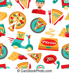 Pizza seamless pattern - Fast food pizza delivery 24h...