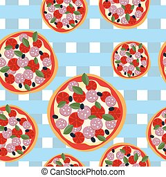 Pizza seamless pattern on a blue tablecloth. Food background
