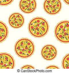 Pizza seamless pattern.