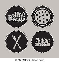 pizza, sellos