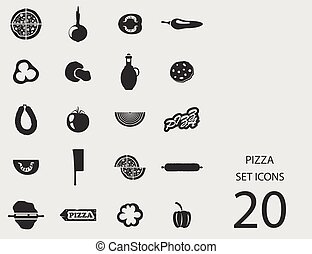 Pizza set of flat icons. Vector illustration