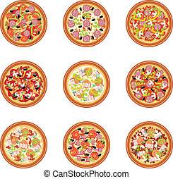 Pizza set - Vector illustration. It is created in the...