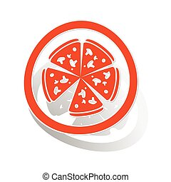 Pizza sign sticker, orange