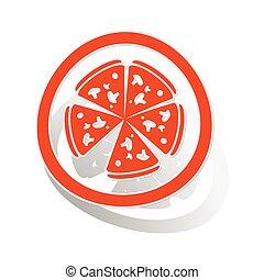 Pizza sign sticker, orange