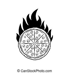 Pizza Silhouette Fire Badge. Vector Illustration. Isolated On White