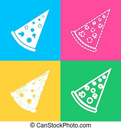 Pizza simple sign. Four styles of icon on four color squares.