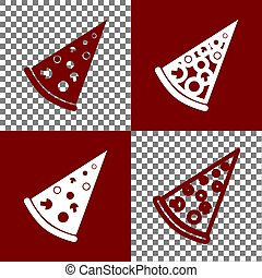 Pizza simple sign. Vector. Bordo and white icons and line icons on chess board with transparent background.