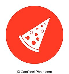 Pizza simple sign. White icon on red circle.
