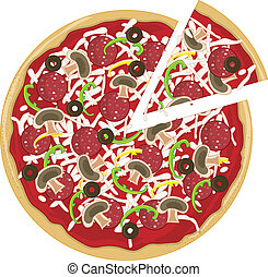 A whole tasty pizza with a slice pulled away from it. The pizza has mushrooms, pepperoni, green peppers and olives on it.