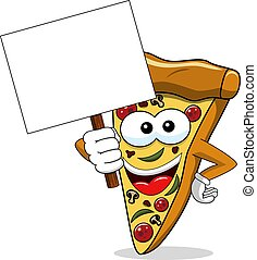 Pizza slice cartoon funny banner copyspace isolated on white