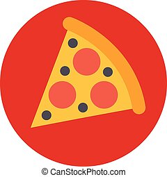 pizza slice food smart technology business card icon flat web sign symbol logo label
